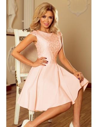 Broskyňové krátke šaty s áčkovou sukňou a čipkou