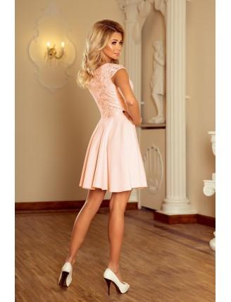 Broskyňové krátke šaty s áčkovou sukňou a čipkou - zo zadu