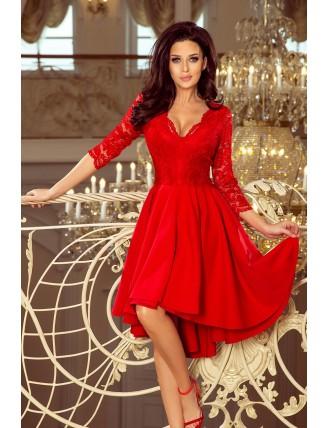 Červené asymetrické šaty s čipkou a výstrihom-1