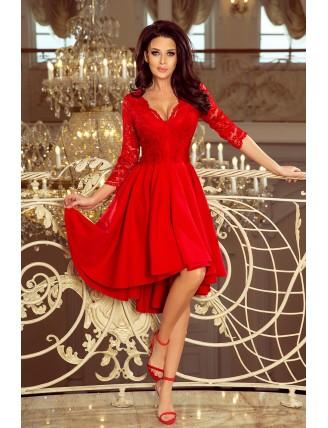 Červené asymetrické šaty s čipkou a výstrihom-3