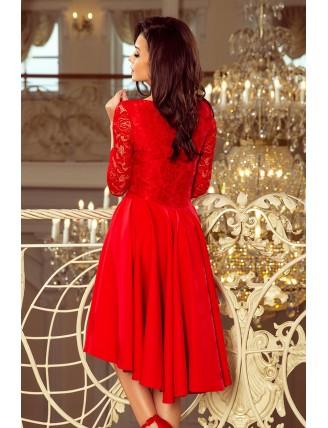 Červené asymetrické šaty s čipkou a výstrihom-4