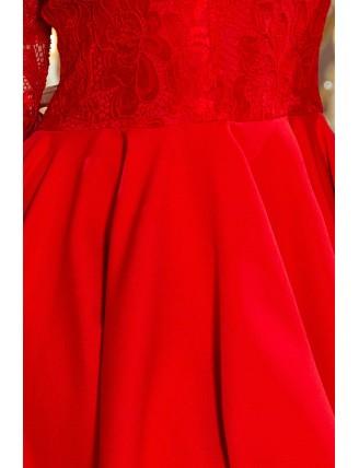 Červené asymetrické šaty s čipkou a výstrihom-5