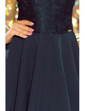 Tmavozelené spoločenské krátke šaty s čipkou-5