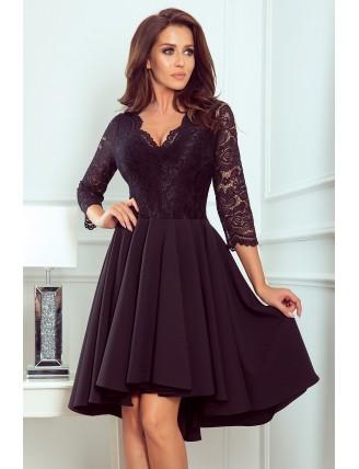 Čierne asymetrické šaty s čipkou a trojštvrťovým rukávom-1