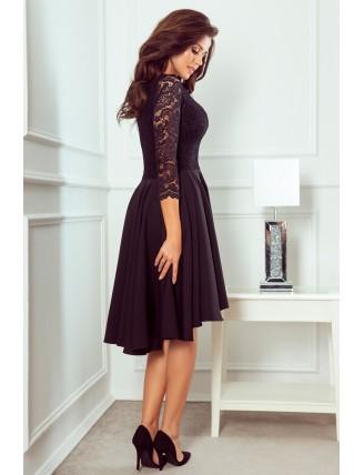 Čierne asymetrické šaty s čipkou a trojštvrťovým rukávom-2