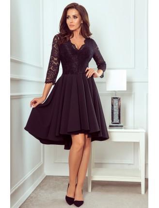 Čierne asymetrické šaty s čipkou a trojštvrťovým rukávom-3