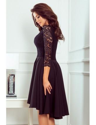 Čierne asymetrické šaty s čipkou a trojštvrťovým rukávom-4