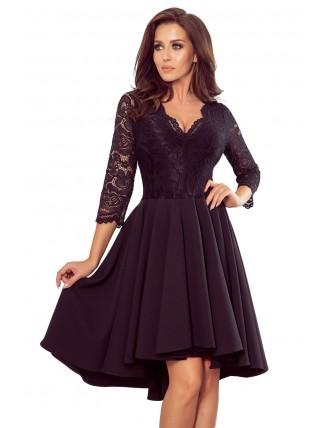 Čierne asymetrické šaty s čipkou a trojštvrťovým rukávom-5