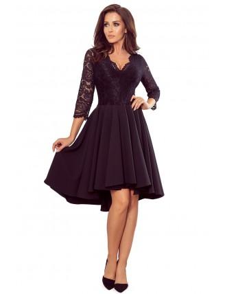 Čierne asymetrické šaty s čipkou a trojštvrťovým rukávom