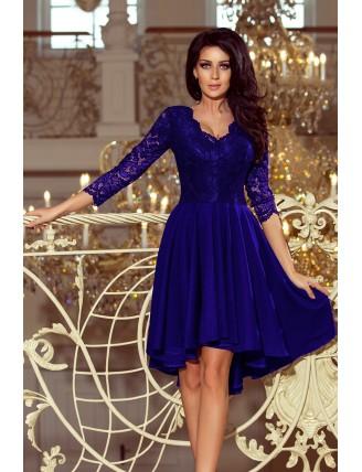 Kráľovské modré asymetrické šaty s čipkou a trojštvrťovým rukávom-1
