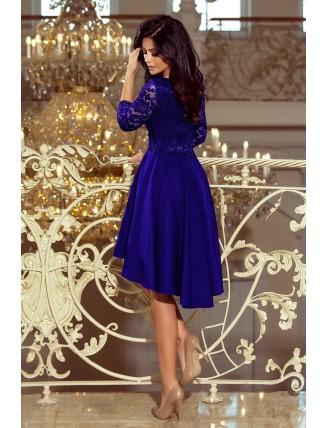 Kráľovské modré asymetrické šaty s čipkou a trojštvrťovým rukávom-2