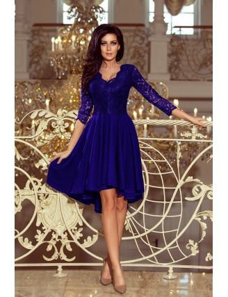Kráľovské modré asymetrické šaty s čipkou a trojštvrťovým rukávom-3
