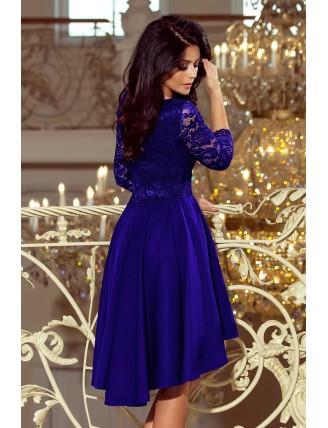 Kráľovské modré asymetrické šaty s čipkou a trojštvrťovým rukávom-4