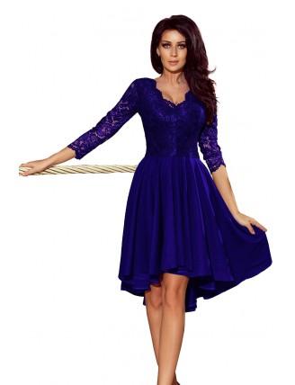Kráľovské modré asymetrické šaty s čipkou a trojštvrťovým rukávom