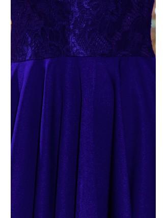 Kráľovské modré asymetrické šaty s čipkou a trojštvrťovým rukávom-5