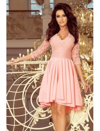 Púdrovo ružové asymetrické šaty s čipkou-1