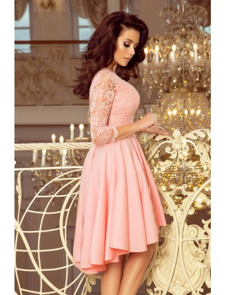 Púdrovo ružové asymetrické šaty s čipkou-4