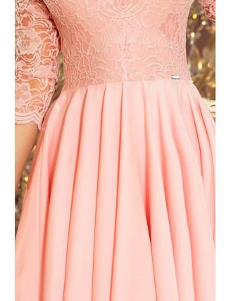 Púdrovo ružové asymetrické šaty s čipkou-5