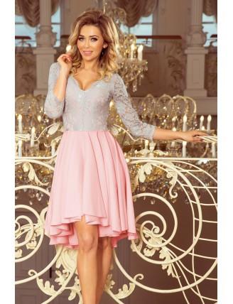 Ružovo-sivé asymetrické šaty s krajkou a trojštvrťovým rukávom-1