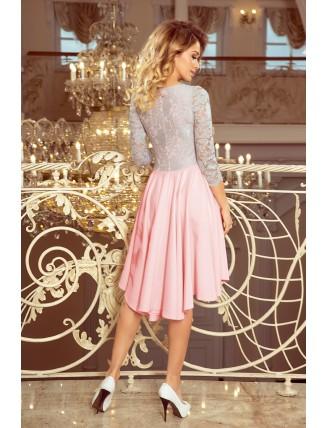 Ružovo-sivé asymetrické šaty s krajkou a trojštvrťovým rukávom-2