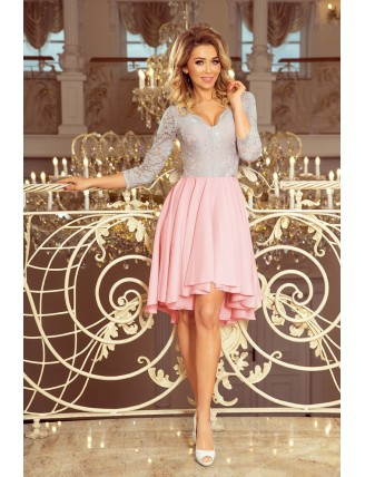Ružovo-sivé asymetrické šaty s krajkou a trojštvrťovým rukávom-3