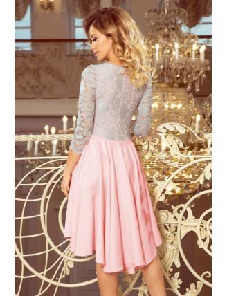 Ružovo-sivé asymetrické šaty s krajkou a trojštvrťovým rukávom-4