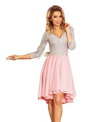 Ružovo-sivé asymetrické šaty s krajkou a trojštvrťovým rukávom