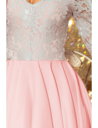 Ružovo-sivé asymetrické šaty s krajkou a trojštvrťovým rukávom-5