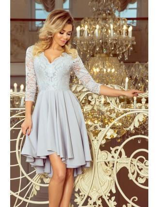 Sivé asymetrické šaty s krajkou a trojštvrťovým rukávom-1