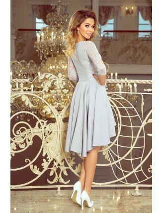 Sivé asymetrické šaty s krajkou a trojštvrťovým rukávom-2