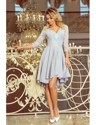 Sivé asymetrické šaty s krajkou a trojštvrťovým rukávom-3