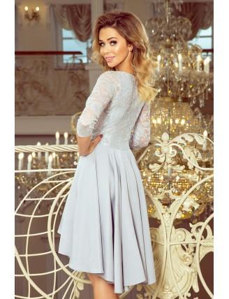 Sivé asymetrické šaty s krajkou a trojštvrťovým rukávom-4
