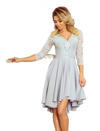 Sivé asymetrické šaty s krajkou a trojštvrťovým rukávom