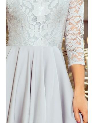 Sivé asymetrické šaty s krajkou a trojštvrťovým rukávom-5