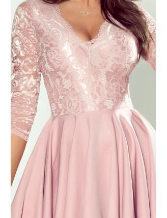 Staroružové spoločenské asymetrické šaty s čipkou-6