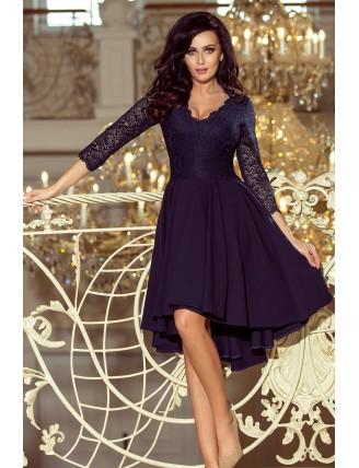 Tmavomodré asymetrické šaty s čipkou a trojštvrťovým rukávom-1
