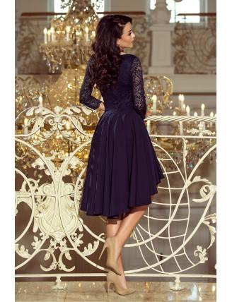 Tmavomodré asymetrické šaty s čipkou a trojštvrťovým rukávom-2