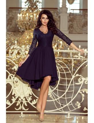 Tmavomodré asymetrické šaty s čipkou a trojštvrťovým rukávom-3