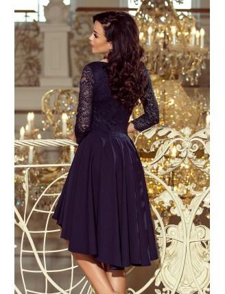 Tmavomodré asymetrické šaty s čipkou a trojštvrťovým rukávom-4