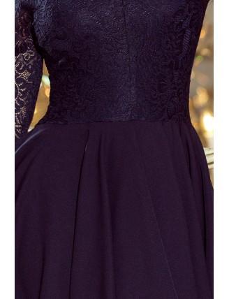 Tmavomodré asymetrické šaty s čipkou a trojštvrťovým rukávom-5