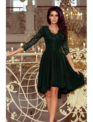 Tmavozelené asymetrické šaty s čipkou a trojštvrťovým rukávom-1