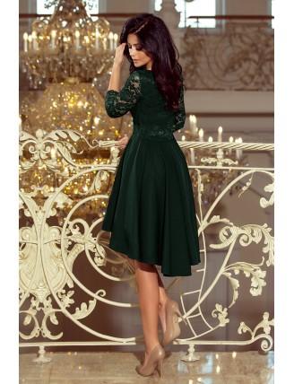 Tmavozelené asymetrické šaty s čipkou a trojštvrťovým rukávom-2