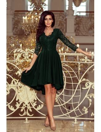 Tmavozelené asymetrické šaty s čipkou a trojštvrťovým rukávom-3