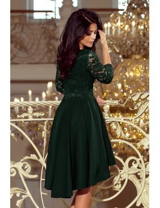 Tmavozelené asymetrické šaty s čipkou a trojštvrťovým rukávom-4