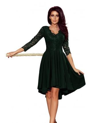 Tmavozelené asymetrické šaty s čipkou a trojštvrťovým rukávom