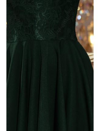 Tmavozelené asymetrické šaty s čipkou a trojštvrťovým rukávom-5