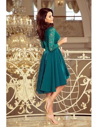 Zelené asymetrické šaty s čipkou a trojštvrťovým rukávom-2