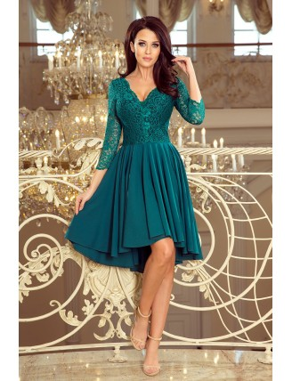 Zelené asymetrické šaty s čipkou a trojštvrťovým rukávom-3