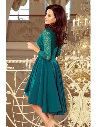 Zelené asymetrické šaty s čipkou a trojštvrťovým rukávom-4