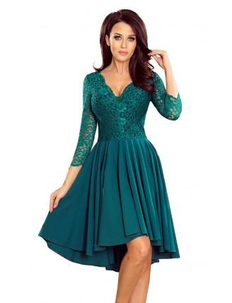 Zelené asymetrické šaty s čipkou a trojštvrťovým rukávom